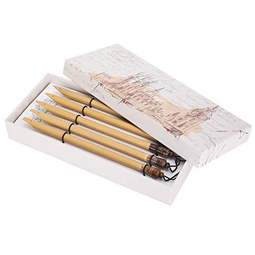 5 piezas pluma de bambú hecha a mano manga caligrafía Vintage bambú dibujo Kit de pintura para la escuela en casa práctica de escritura en inglés(#1)