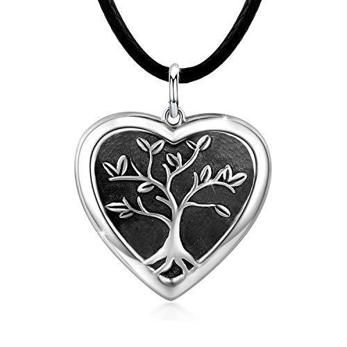 Tree of Life Locket Necklace, Locket Necklace That Holds Pictures S925 Sterling Silver Vintage Oxidized Tree of Life photo Pendant Family Gifts for Women Teen