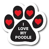 Magnet Me Up I Love My Poodle Pawprint Car...