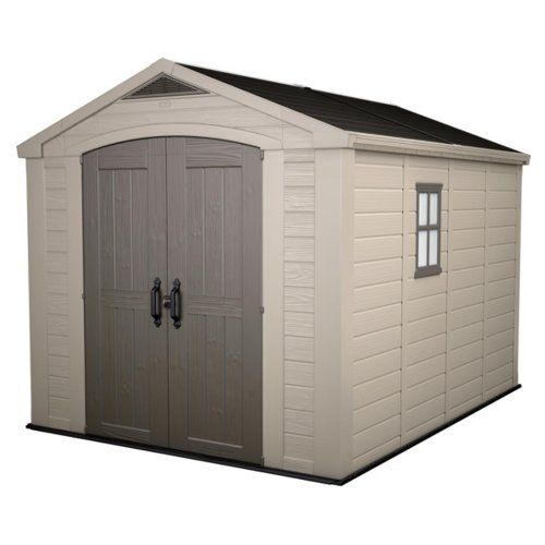 Keter Factor Outdoor Plastic Garden Storage Shed, Beige, 8 x 11 ft