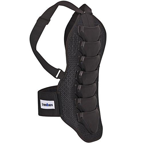 trendbasis Rückenprotektor für Ski und Snowboard - effektiver Schutz der Wirbelsäule - Größe XL (Körpergröße 180-190cm) - Protektorplatten: Schwarz