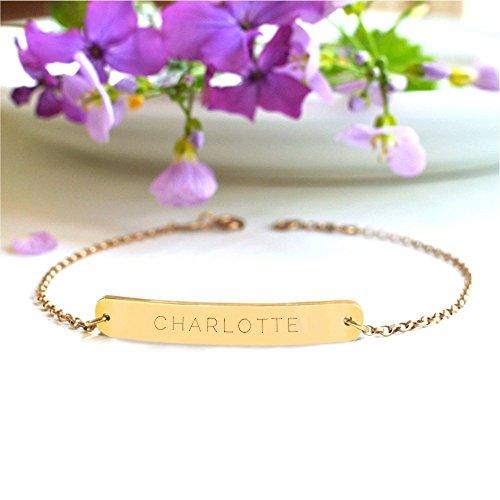 Pulsera Personalizada Barra Oro con Nombre, pulsera con nombre, regalo de San Valentín, brazalete con barra de oro, regalo de dama de honor, pulsera de barra personalizada