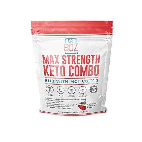 Dr. Boz goMCT Oil Powder with goBHB [Coconut goMCT Oil Powder+ Keto goBHB Powder] – Keto Supplement |Keto Shake – MAX Strength Keto goBHB & goMCT C8:C10 [Strawberry Lemonade 233g Bag]