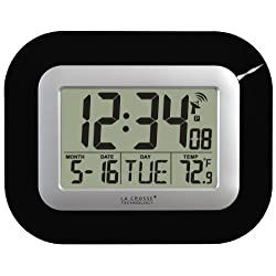 La Crosse Technology, Black WT-8005U-B Atomic Digital Wall Clock with Indoor Temperature, 9 by 1 by 7.2 Inch