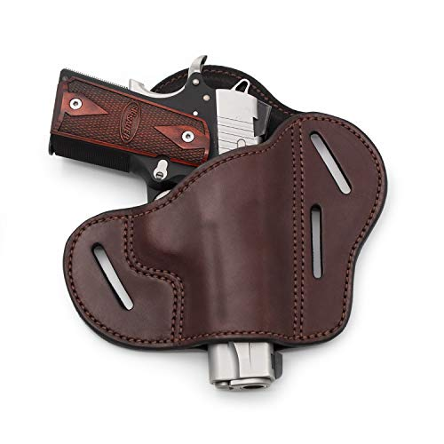 Relentless Tactical The Ultimate Leather Gun Holster | 3 Slot Pancake Style Belt Holster | Handmade in The USA! | Fits All 1911 Style Handguns Brown Right Handed