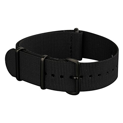Infantry Watch Bands for Men Canvas Fabric NATO Watch Strap, 4 Rings Stainless Steel Buckle 20mm Black