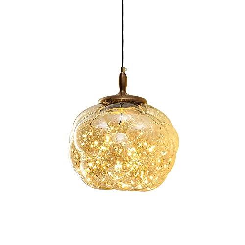 NZDY Lámpara Colgante Creativa de Vidrio Transparente Gypsophila, Mini Candelabro de Vidrio Soplado a Mano de Forma Irregular, Lámpara Colgante de Cabecera de Dormitorio Minimalista Moderno, con Port