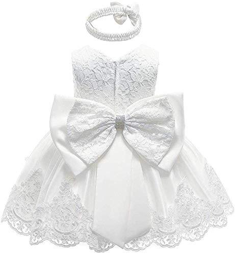 WangsCanis Vestido de bautizo para niña con lentejuelas y encaje elegante vestido de princesa con lazos para fiesta ceremonia cumpleaños 0 – 24 meses Encaje blanco. 18-24 Meses