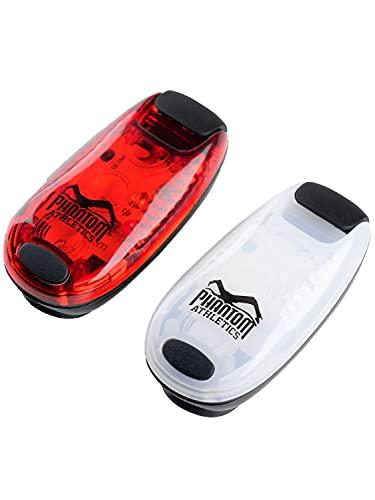 Phantom LED Blink-Lichter 2er Set mit Clip - Outdoor Sport, Laufen - Rot Weiß