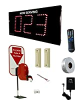 Alzatex Take-a-Number System Showing 3-Digit Ticket Number 0-999 with Two Buttons, D80 Dispenser, T80 Tickets, Infrared Remote and Counter Stand for Waiting Line Management