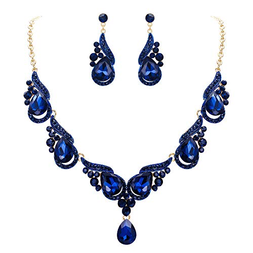 EVER FAITH Juegos de Joyas para Mujer Cristal Austríaco Oleada Floral Boda Azul Marina Tono Dorado Collares Pendientes Conjunto