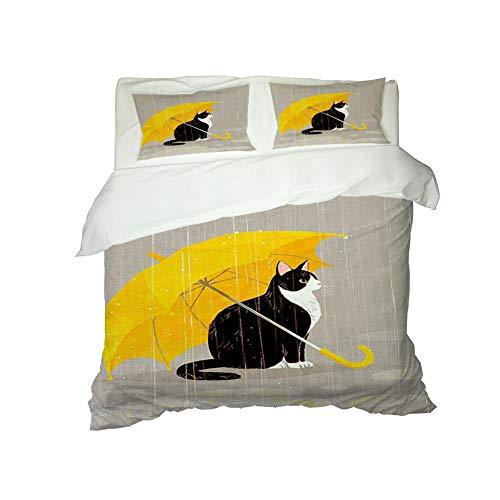 Kekeyt Duvet Cover Sets Kitten Under Umbrella Double Duvet Cover Sets Duvet Single Cover Sets 3D Hd Printing 200 X 200 Cm-Cotton adult children's bedding