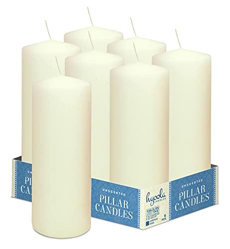Hyoola Elfenbein Stumpenkerzen 76 X 203 mm - 6 Pack - 124 Stunden Brenndauer - Unparfümiert Groß Stumpen Kerzen