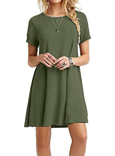 VIISHOW Women's Short Sleeve Casual Loose T-Shirt Dress Army Green XL