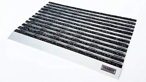 Felpudo técnico higienizado e higienizado Mat.en Plate 17 de aluminio con rampa, antracita para entradas y exteriores, 60 x 40 cm