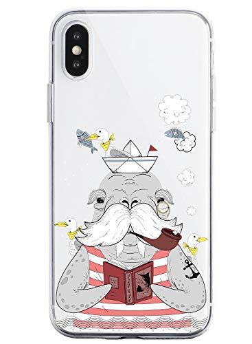 Suhctup Compatible con iPhone X/XS Funda de Transparente Silicona con Dibujos Lindo Animados Animal Diseño Patrón Cárcasa Suave Flexible Ultrafina TPU Antigolpes Protección Caso, Animal Barbudo
