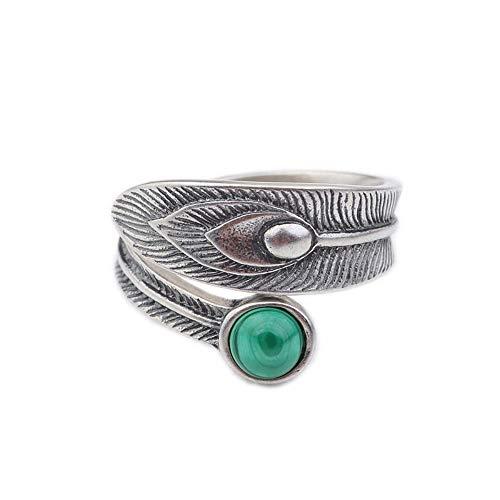 Vintage S 925 In Silber Ring Frauen Einfaches Öffnen Malachit Feder- Fashion Kreative Geschenk Persönlichkeit Trend