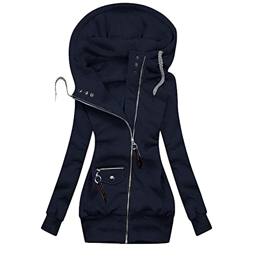 Womens Fall Clothes,Womens zip up Jacket Spring Sweatshirts Coats Novelty Girls Colorful Outerwear Workout Petite Cute Tops for Women Trendy Going Out Navy