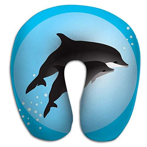 Cómodo Cojín en Forma de U, Almohada de Viaje Espuma viscoelástica Cuello Pareja Delfines Nadando Océano Pintura PLW-1187