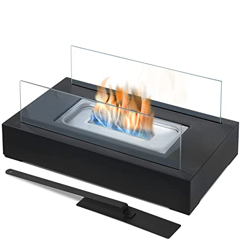 Biochimenea - con Quemador de Acero Inoxidable, Paneles de Vidrio, Apagador de Llama, Base Rectangular de Color Negro, 35x18,2x14,6cm - Chimenea de Bioetanol