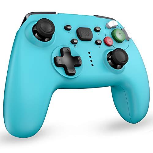 Controller switch, controller wireless Bluetooth per Nintendo Switch Pro/Switch Lite, controller cablato per PC con funzione doppia vibrazione e Turbo, blu