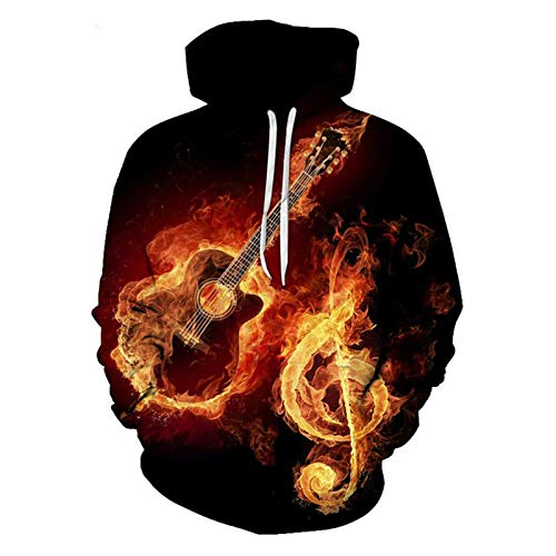 Männer schwarz cool Hoodie Sweatshirts 3D-Druck Rock N Roll Gitarre Trainingsanzüge Tops