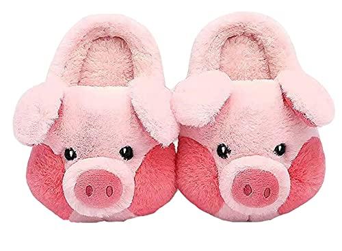 LANFIRE Zapatillas de algodón para niños grandes y adultos, zapatillas de cerdo para el hogar, zapatillas de felpa, zapatillas de animales, zapatos de mujer (Pink, 39/40, numeric_39)