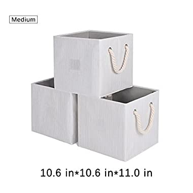 StorageWorks Foldable Basket Cubes with Strong Cotton Rope Handle, Sturdy Stackable Storage Cube Box Bins With 25lbs By, Beige, Bamboo Style, Medium 5 gal, 3-Pack