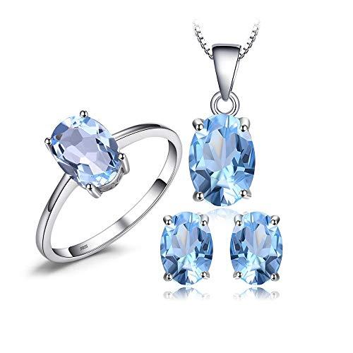 Azul Topacio Cadena Colgante Collar Pendientes Anillo Conjunto 925 Plata Piedras Preciosas Conjuntos de Joyas Plata