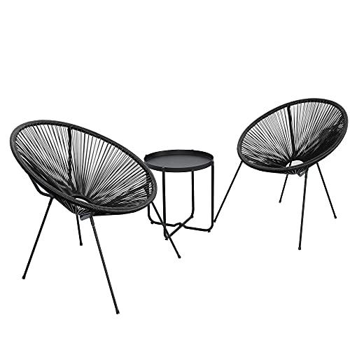 DlandHome Set de 2X Sillas con Mesa, Sillas Redondas Acapulco, Estructura de Acero, Estilo Retro, Muebles Exterior Jardín Patio Terraza,negro