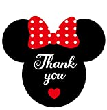 Minnie Thank You Stickers 2.38 x 2 inch Mickey Mouse Ears Head Labels for Envelope Seals Birthday Baby Shower Party 200 Pack