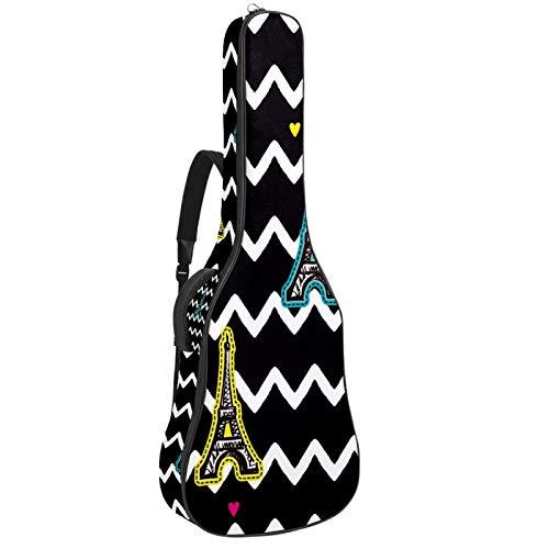Funda para guitarra reforzada con esponja gruesa y acolchado extra de protección, para el cuello, para colgar en la parte trasera, para guitarra acústica clásica, torre Eiffel, rayas negras y
