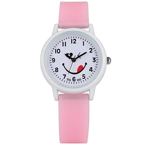 Armbanduhr für Mädchen, analog, 24 Stunden, wasserdicht, rosa Silikonband, Zungenausdrucksmuster, Geschenk für Kinder