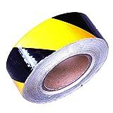 PrimeMatik - Cinta adhesiva reflectora para señalización de color amarillo negro 48m 5cm
