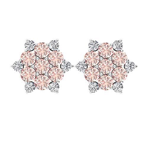 Rosec Jewels 10 quilates oro rosa redonda round-brilliant-shape H-I Diamond Laboratorio de morganita creado