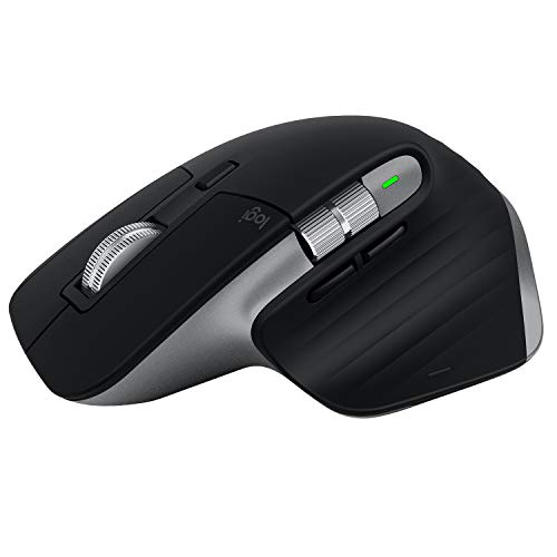Logitech MX Master 3 Mouse Wireless Avanzato, Ricevitore Bluetooth o USB 2.4 GHz, Scorrimento ‎Rapido, 4000 DPI Qualsiasi Superficie, Ergonomico, 7 Pulsanti, PC/Mac/Laptop/iPadOS, Grigio (‎Scuro)
