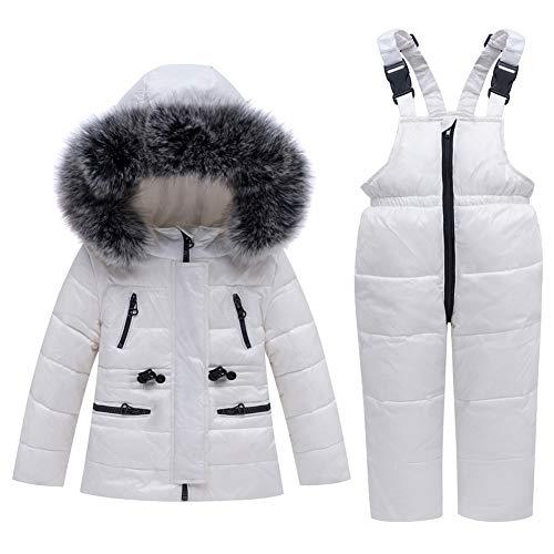 LSHEL Kinder Bekleidungsset Junge Mädchen Süß Schneeanzug mit Kaputze Daunenjacke + Daunenhose 2tlg Verdickte Skianzug Winterjacke, Weiß, 92/98