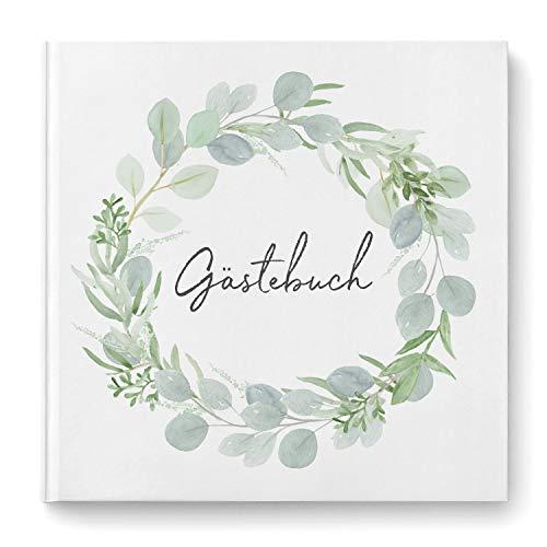 DeinWeddingshop Gästebuch zur Hochzeit - Hardcover Buch quadratisch - Hochzeitsgästebuch Hochzeitsalbum Hochzeitsbuch - Eucalyptus Green Love (ohne Fragen/weiße Seiten)