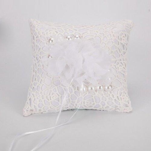bpblgf Ringkissen für Kopfkissen, Hochzeitsring, mit Satinbändern und Doppeltem Herzanhänger, 20 cm x 20 cm, Perle, Weiß, 20cm*20cm