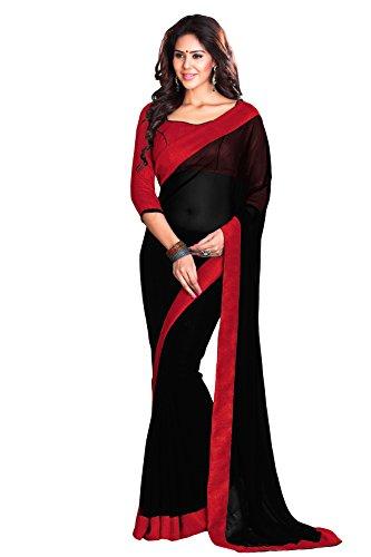 Mirchi Fashion Mirchi Fashion Border Work Faux Georgette Traditioneller indischer Bollywood Designer Sari für Frauen Gr. One size, schwarz / rot