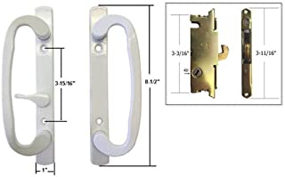 STB Sliding Glass Patio Door Handle Set with Mortise Lock, White, Non-Keyed, 3-15/16