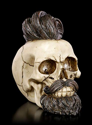 Figuren Shop GmbH Gothic Totenkopf mit Bart und Haartolle - Bearded Buddy | Fantasy Skull, Totenschädel, Kopfskulptur, H 16 cm