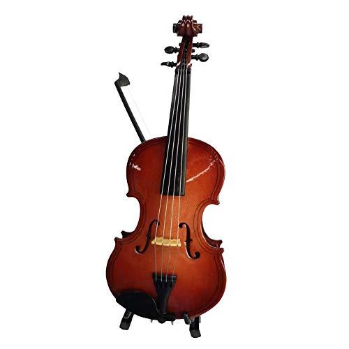 ALANO Miniature Violin Model Decorative Ornament Mini Musical Instrument with Bow & Stand (14cm)