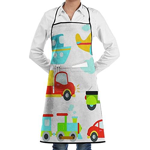 FAKAINU Delantal de cocina,Tipos de transporte abstractos para niños pequeños Coche Barco Camión Scooter Tren Avión,Apto para restaurantes, delantales impermeables y antiincrustantes.