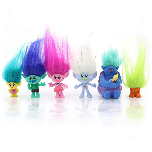 Newmemo Trolls Doll Cake Topper 6pcs with Hair, Trolls Action Figures Birthday Cake Cupcake Topper, Mini Trolls Figurines Toys, Troll Cake Decoration for Kids Birthday Baby Shower Troll Theme Party