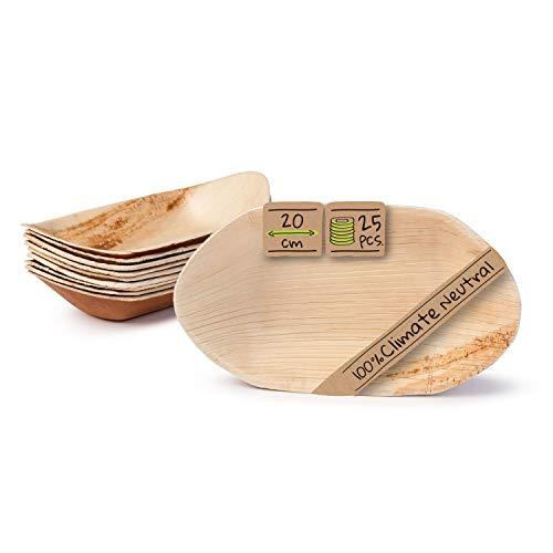 GREENBOX Palmware - Cuenco de hoja de palma para aperitivos I Vajilla desechable biodegradable, compostable I Cuencos desechables I 25 unidades para fiestas de barcos de 20 cm