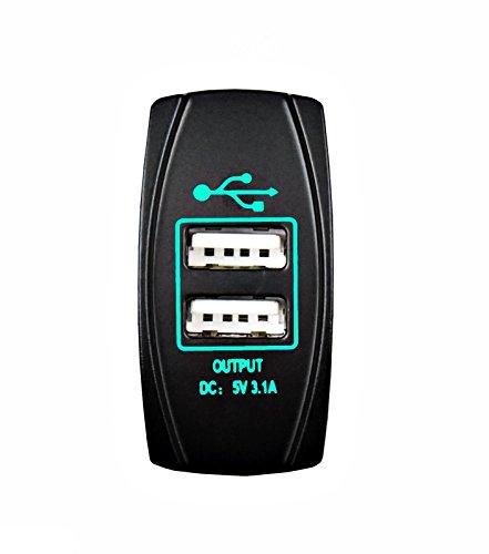 STV Motorsports Universal Laser Switch USB Car Charger LED Lighted for Car Truck Boat ATV UTV Dash Switch (Green)