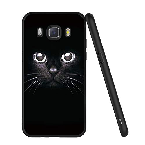 ZhuoFan Funda Samsung Galaxy J5 2016 Cárcasa Silicona Ultrafina Negra con Dibujos Diseño Suave TPU Gel Antigolpes de Protector Piel Case Cover Bumper Fundas para Movil Samsung J510, Gato Negro