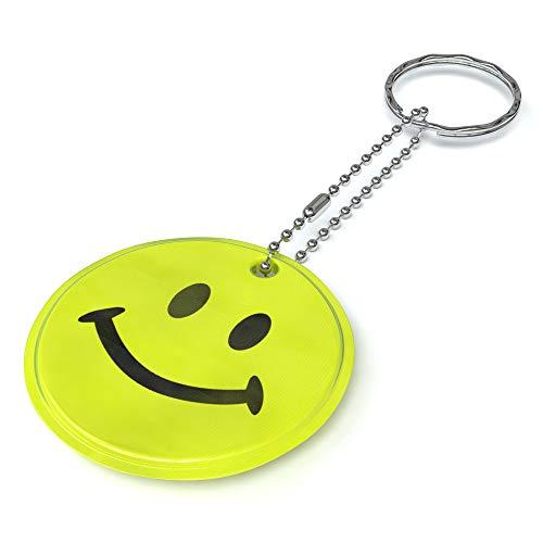 EAZY CASE Reflektor Anhänger im 5er Set mit Schlüsselring I Reflektierender Schlüsselanhänger für Schulranzen, Jacke, Rucksack - mehr Sichtbarkeit im Straßenverkehr und Schulweg, Smiley in Gelb