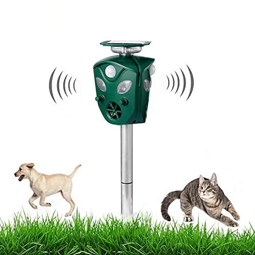Ultraschall katzenschreck, Solar Tiervertreiber Dreiseitiges Katzenschutzmittel, mit Licht und Blitz für Katze, Hund, Fuchs, Vogel im Garten